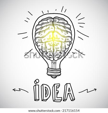 Human brain in lightbulb idea concept sketch vector illustration - stock vector