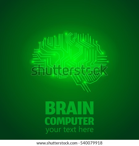 Human Brain Logo,Neurology Anatomical Conception.Silicon chips with synapse lights in shape of Cerebrum and Cerebellum with text Brain computer on green luminous background