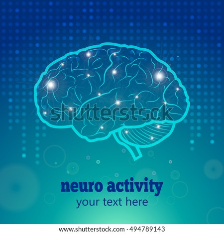 Human Brain Logo,Neurology Anatomical Conception,Vector Illustration.Medical Logo Brain Activity and Cerebellum on blue dotted background and synapse lights.Cerebral Brain Neurology Vector Logo.