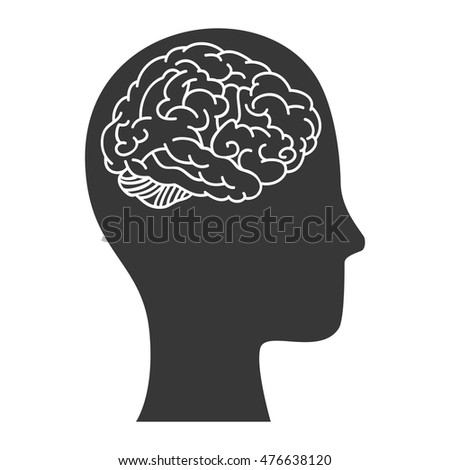 human brain organ in a head profile. mind head intelligence idea vector illustration