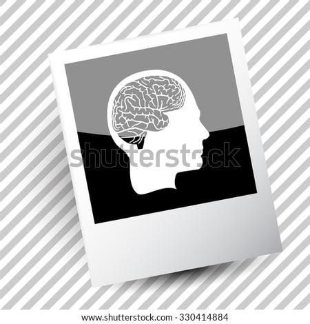 human brain. Photoframe. Vector icon. - stock vector