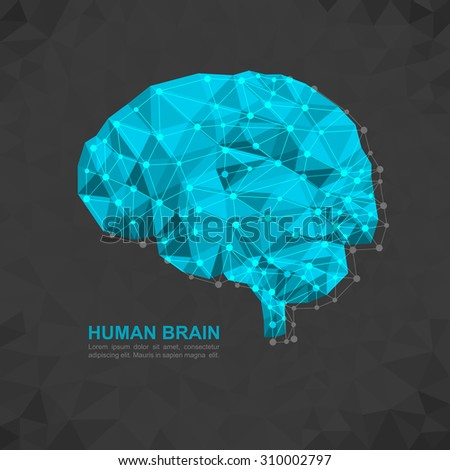 Human brain polygonal geometric concept. Geometric abstract geometric brain with triangular polygons - low poly background.