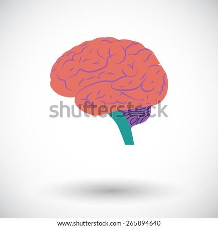 Human brain. Single flat icon on white background. Vector illustration. - stock vector