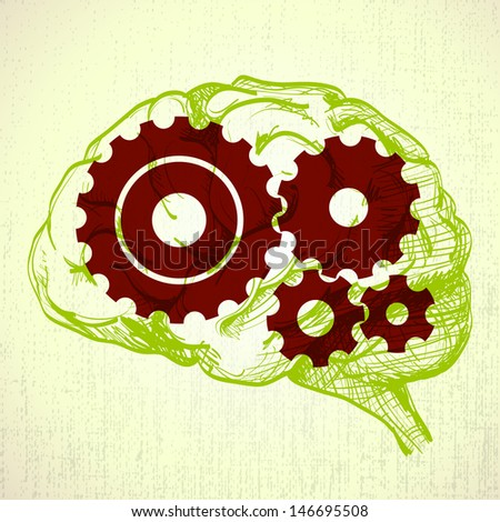 human brain sketch with cogs (gears) - illustration - stock vector