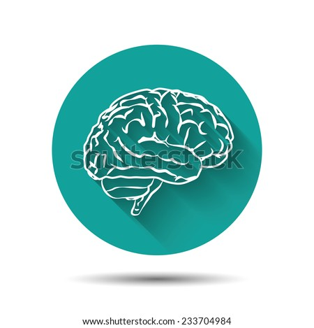 Human brain vector icon flat illustraton with long shadow - stock vector