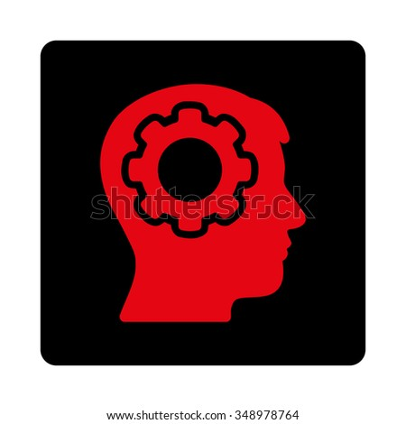 Human Brain vector icon. Style is flat rounded square button, intensive red and black colors, white background. - stock vector