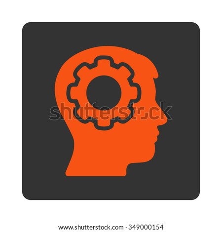 Human Brain vector icon. Style is flat rounded square button, orange and gray colors, white background. - stock vector