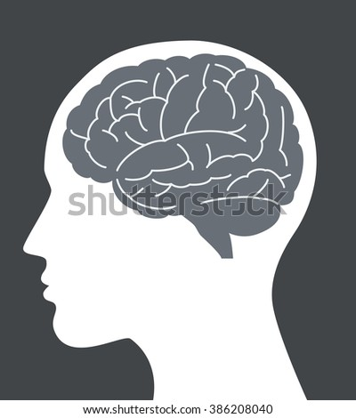 Human brain vector illustration with face profile. - stock vector