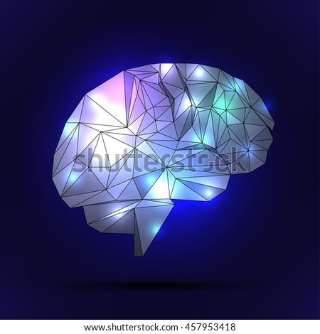 human brain with a polygon