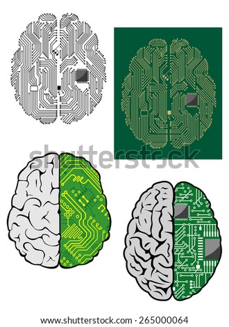 Human brain with computer motherboard, processor and other components for technology design - stock vector