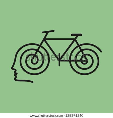 human brain with cycle - stock vector