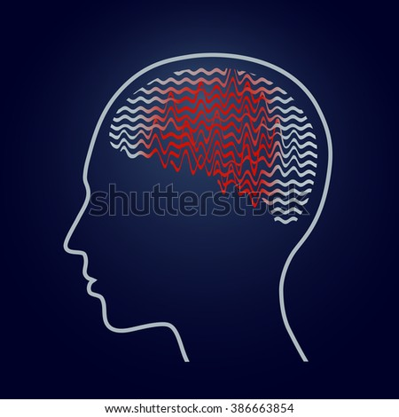 Human brain with epilepsy activity, epilepsy awareness, vector illustration - stock vector