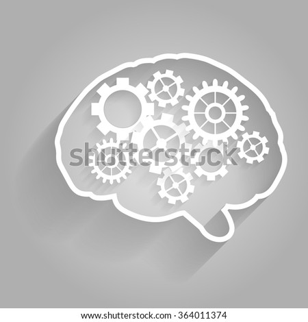 Human brain with gears.Vector for your design. - stock vector