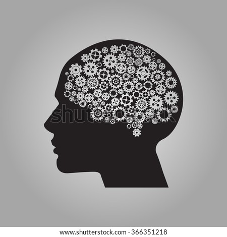Human brain with gears. Vector for your design. - stock vector