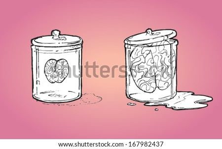 Human brains preserved in two glass jars - vector sketch illustration