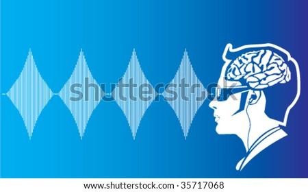 Human Brainwaves / Radio waves - stock vector