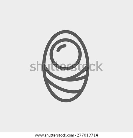 Human cell icon thin line for web and mobile, modern minimalistic flat design. Vector dark grey icon on light grey background. - stock vector