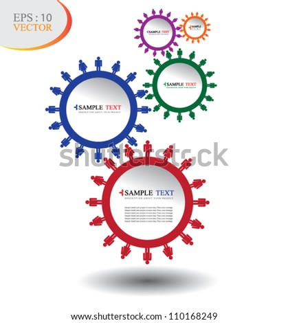 Human 5 cog color circle system, can use for business concept, education diagram, brochure object.