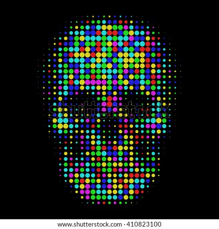 Human color skull in halftone dots style Bright t-shirt graphics design on black background Vector isolated object for websites, icons, user picture, avatars, posters, t shirt, logo, stickers, tattoo - stock vector