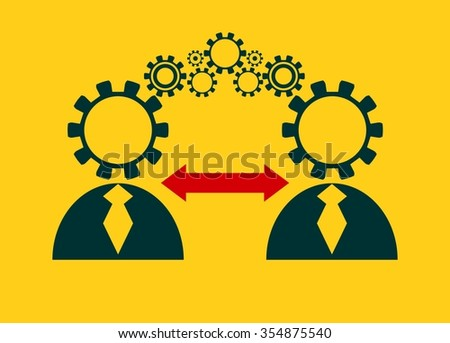 Human communication simple icons model. Image relative to society connection - stock vector