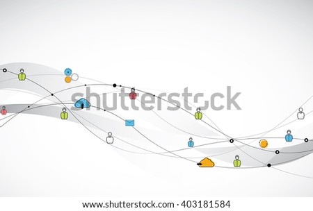 Human connection. Abstract human connection. Human connection with various icons - stock vector