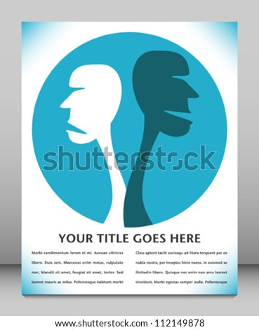 Human disagreement leaflet design. - stock vector