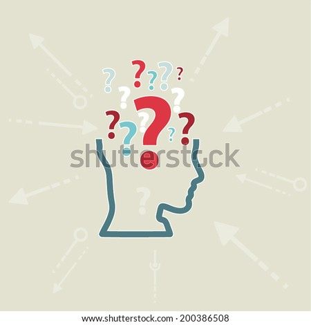 Human Doubt, question mark in the head. Flat design - stock vector