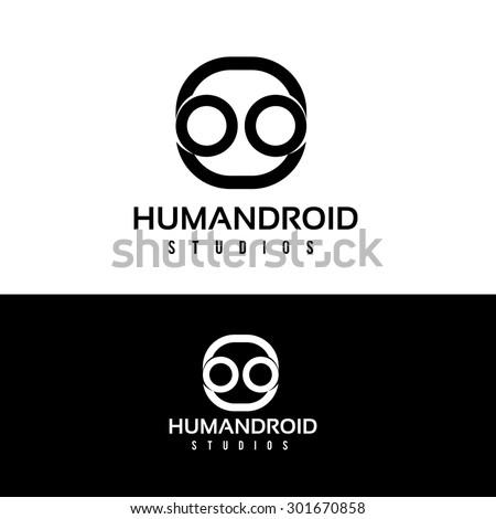 Human droid,human vector logo design template. head or robot icon. - stock vector