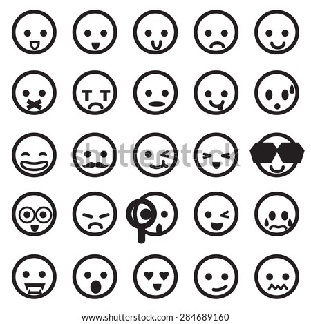 Human Emotion Icons Mono Vector Symbols Stock Vector Royalty Free