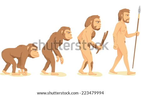 Human Evolution from Ape to Man, with ape, Aborigine and men vector illustration cartoon. - stock vector