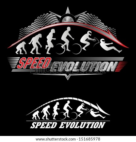 Human evolution of speed - stock vector