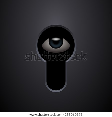 Human eye in keyhole. Vector illustration