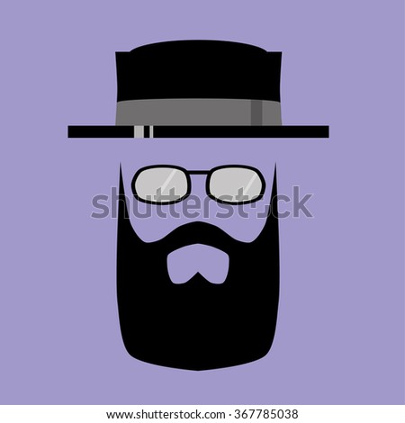 Human face comprised of the basic features of mustache, beard and spectacles or sunglasses in a hipster style beneath a trendy pork pie hat - stock vector