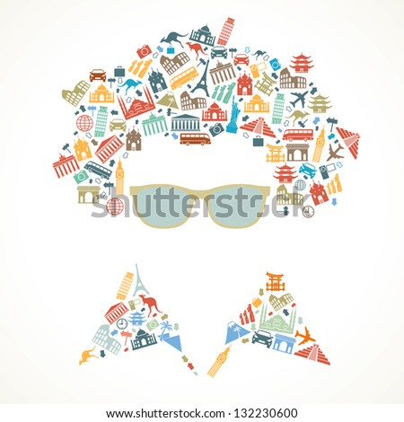 human face is made up of icons landmarks. travel concept. Vector illustration - stock vector