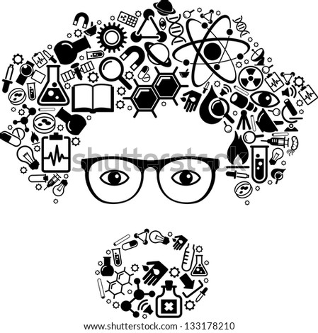 human face is made up of icons of science. The concept of learning, research and discovery. Modern technological solutions. Vector illustration - stock vector