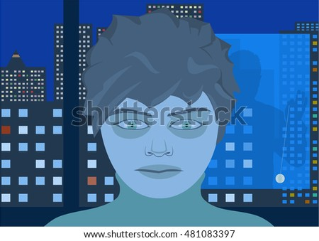 Human face with a zombie stare of tv addict youngster sitting against night cityscape, mentalist reflection with pendulum in the window.