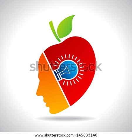 human face with bulb, eco icon - stock vector
