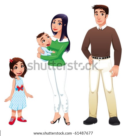 Human family with mother, father and children. Cartoon vector illustration - stock vector