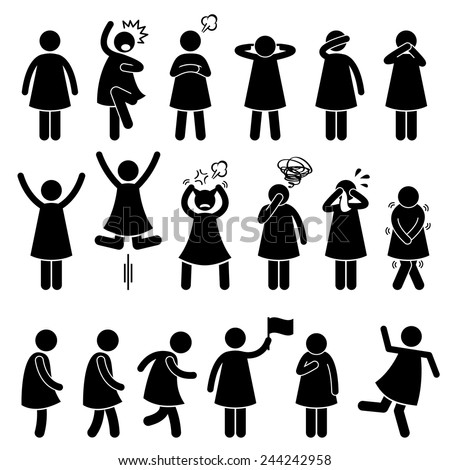 Human Female Girl Woman Action Poses Postures Stick Figure Pictogram Icons - stock vector