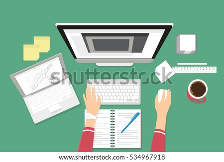 Human female hands typing on the computer keyboard using laptop and notebook for work or learning. Education illustration on green background of working or learning student desktop