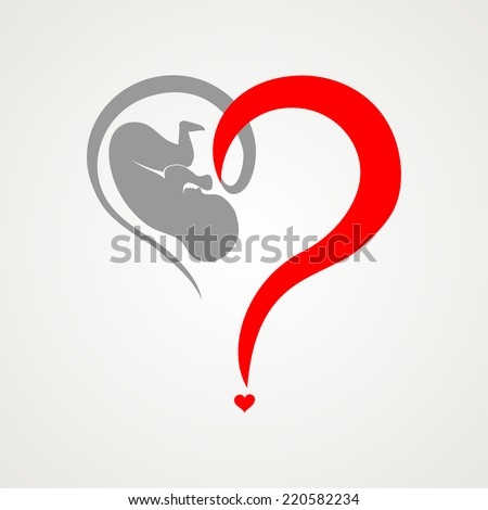 Human fetus inside the womb. Vector Illustration - stock vector