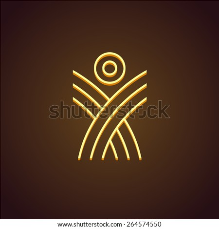 Human figure linear logo template. Monoline rising up concept. Plant shoots with sun. - stock vector