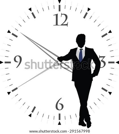human figure with transparent clock - stock vector