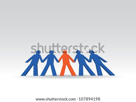human figures in a row - illustration - stock vector