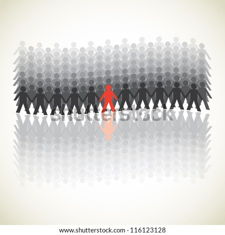 human figures in a waved row - illustration - stock vector