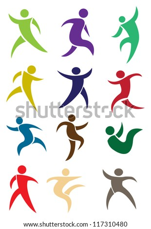 Human figures in action in different colors. Vector illustration.