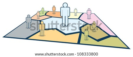 Human figures of various size take control of their territory. - stock vector