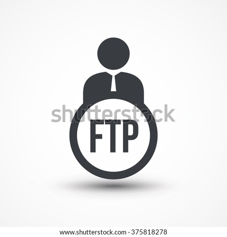 Human flat icon with word FTP file transfer protocol  - stock vector