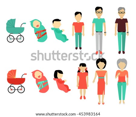 Human growing up concept. Flat Design. People male and female characters templates without face in different ages from baby to older. Stages of life illustration for aging concepts and infographics. - stock vector