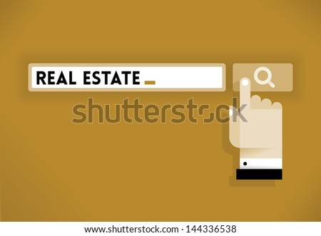 Human hand cursor icon over Search button looking for Real Estate. Idea - Looking for Real Estate.
